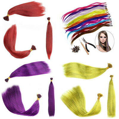 Hot Hair Feathers+100 Beads+1 Plier+Hook Gift 35 Synthetic Feather Extension Kit