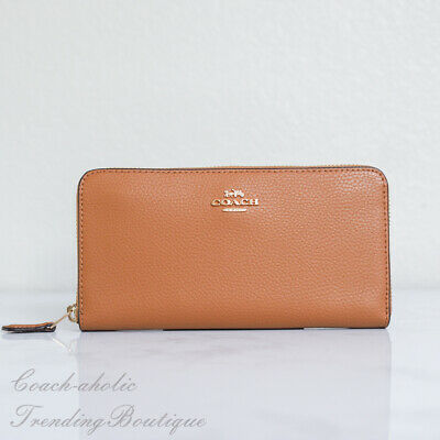NWT Coach F16612 Pebble Leather Accordion Zip Around Wallet in Light Saddle