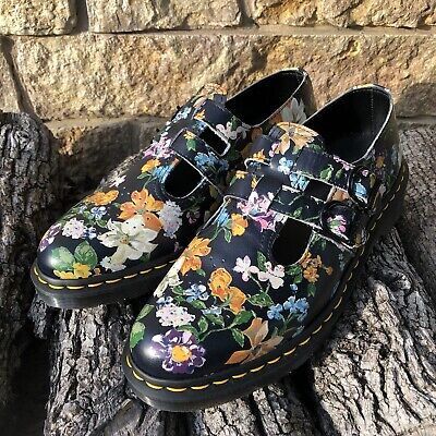 f8a607c304cc1 DR. MARTENS 1460 Pascal Black Darcy Floral 8-Eye Womens Leather ...