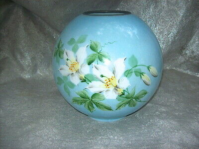 """ORIG """"GONE WITH THE WIND"""" HAND-PAINTED LILIESI on MILK GLASS GLOBE LAMP SHADE"""