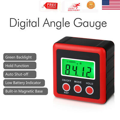 Digital Angle Cube Gage Electronic Gauge Sea Level Protractor Finder Base Aid