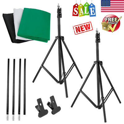 10x6.5ft Photo Studio Photography Lighting Stand Kit w/ 9x6ft Non-Woven Backdrop