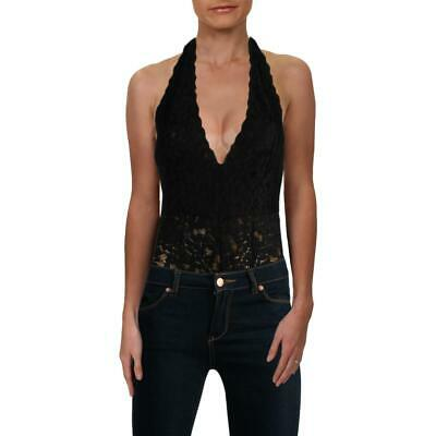 d93bb20aad40 Free People Womens Avery Black Lace Sheer V-Neck Bodysuit Top S BHFO 3098