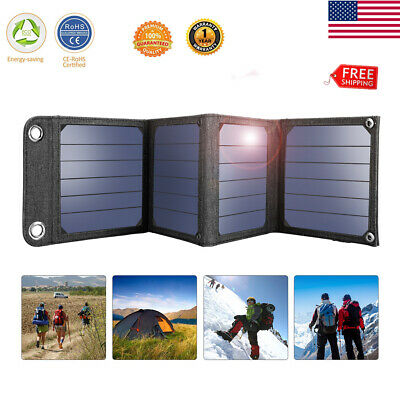 14W Dual USB Solar Power Bank Panel Portable External Battery Charger for phone