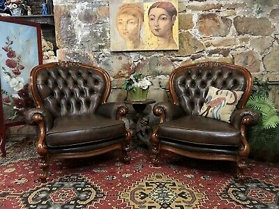 Pair Vintage Leather French Louis Wingback Chesterfield Lounge ArmChair~Chair