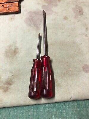 Vintage Sidchrome Red Screw Drivers Cat S131-06 4761-8 X 2