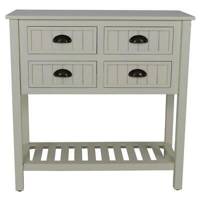 Indoor Console Table in Antique White Look Entryway Furniture with Four Drawers