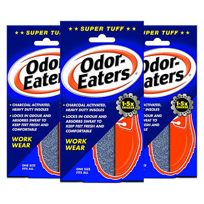 Odor Eaters Super Tuff Shoe Odour Washable Work Wear Insoles x3 (Triple Pack)