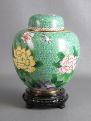Vintage Container Jar Chinese Cloisonne' Background Turquoise Floral Xx Century