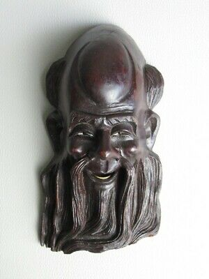 Antique Mask Face Eastern Wall Wooden Carved 8 11/16in