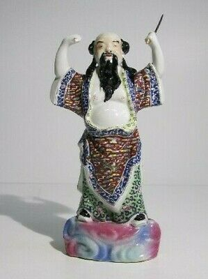 Antique Statue Chinese Warrior Porcelain Hand-Painted Period Xx Century
