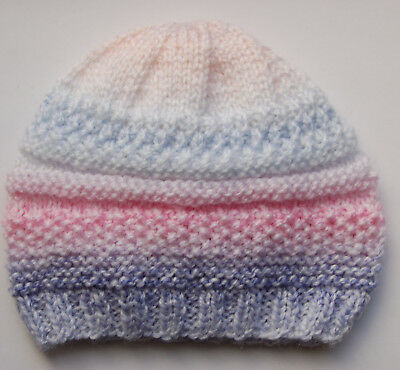 Hand knitted Baby Hat  Pink and Blue Newborn