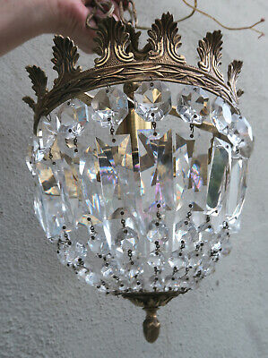 Vintage Bridal cake Crystal lamp chandelier brass Italy French w canopy