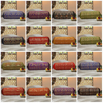 INDIAN CYLINDRICAL BOLSTER Pillow Cover Neck Roll Silk