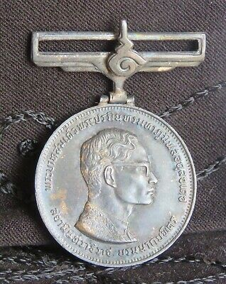 1971 Thailand King Rama 9 IX 25th Year Reign Silver Medal Amulet BE2514 Thai