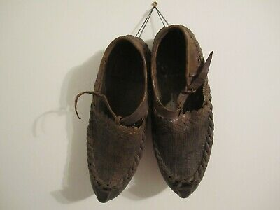 Antique Primitive Pair Adult Shoes Handmade Leather Collectible