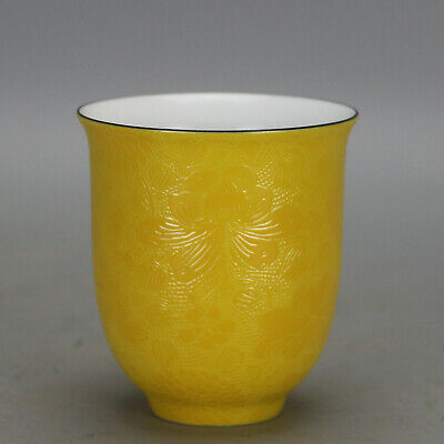 China antique Porcelain Qing qianlong Mark yellow glaze carved flower cup