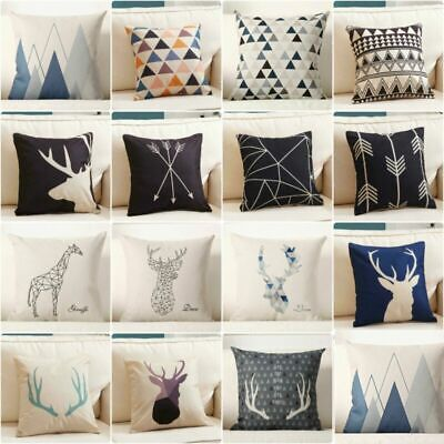 "15"" Cotton Deer Case Pillow Home Cover Cushion Geometry Throw Decor Linen Nordic"
