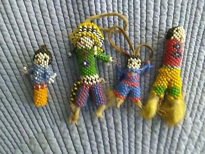 4 Antique Native American Beaded Fetishes
