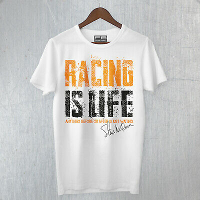 T-Shirt Steve Mcqueen Racing Is Life Ford GT40 Mustang Film Legendary Race