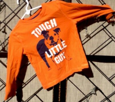Crazy 8 Boy's Top Long-Sleeve Shirt Bull Dog Pup Tough Little Guy Sz 3T Orange