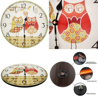 VieVogue Retro Wooden Wall Clock, Large Vintage Rustic 14inch, Owls Family