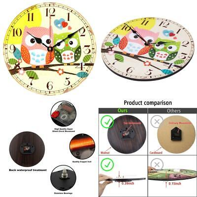 VieVogue Retro Wooden Wall Clock, Large Vintage Rustic Colorful 12inch, Owl
