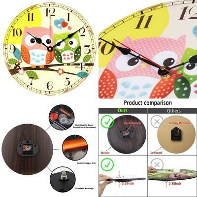 VieVogue Retro Wooden Wall Clock, Large Vintage Rustic Colorful 14inch, Owl
