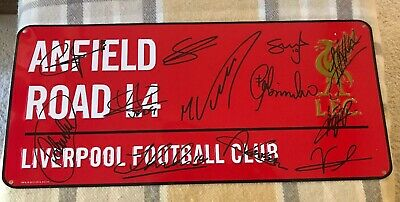 Liverpool Hand Signed Anfield Plaque YNWA Champions League Winners