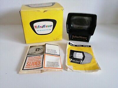 HALINA SLIDE VIEWER.1960s vintage and retro BOXED RARE INSTRUCTION LEAFLET