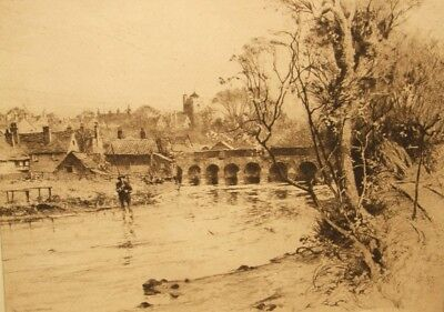 Percy Robertson antique signed sepia etching; Leatherhead, Surrey 1800's