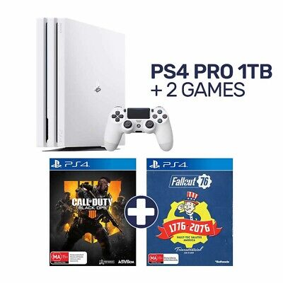 PlayStation 4 Pro 1TB White Console + 2 Games - PlayStation 4 - BRAND NEW