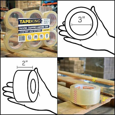 Super Thick 3.2mil Clear Packing Tape (6 Refill Rolls) - Heavy Duty NEW