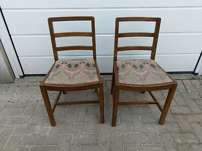 PAIR OF WOODEN VINTAGE CHAIRS, SIMPLE, MAYBE CHURCH CHAIRS, UPHOLSTERED, '60s?