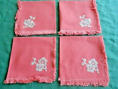 4 Rosey Red Vintage Napkins With Grey Flower Hand Embroidery, Circa 1940