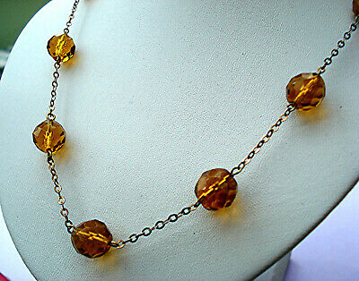 ART DECO NECKLACE AMBER FACETED CRYSTAL BEADS ON LENGTHS OF CHAIN VINTAGE 1930s