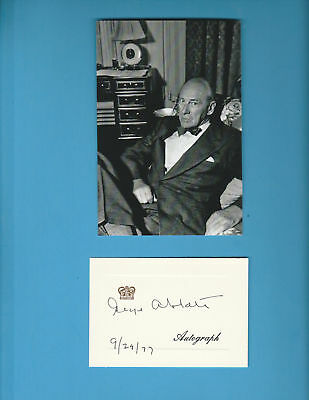 George Abbott (Theater Producr, Director) Signed Gold Embossed Card Dated 1977