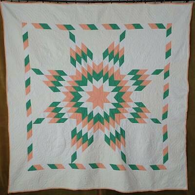 2019 Color of the year! Vintage 30-40s Coral Peach & Green Texas Star QUILT 75""