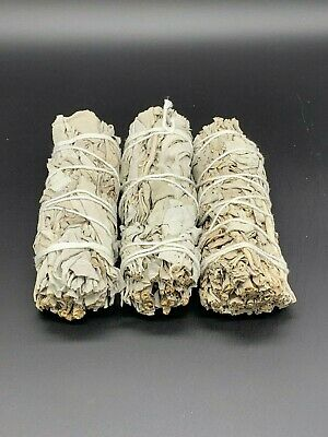 """3 California White Sage Smudge Sticks 4 - 5"""" House Cleansing Negativity Removal"""