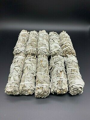 "10x California White Sage Smudge Sticks 4-5"" House Cleansing Negativity Removal"