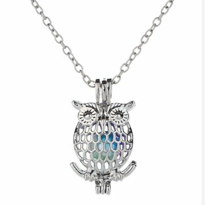 Chic Owl Colorful Beads Animal Charm Necklace Pendant Chain Clavicle Chain Gift