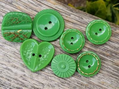 Mixed Assortment of Vintage Green Glass Buttons Germany Crafts Jewelry Sewing