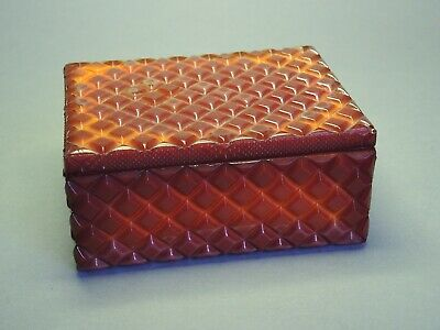 Vintage Art Deco Bohemian Czech Orange/Red Glass Dose/Jewelry Box