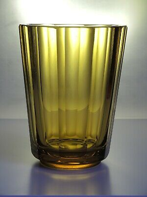 Art Deco Vintage Czech Bohemian Faceted Amber Glass Vase