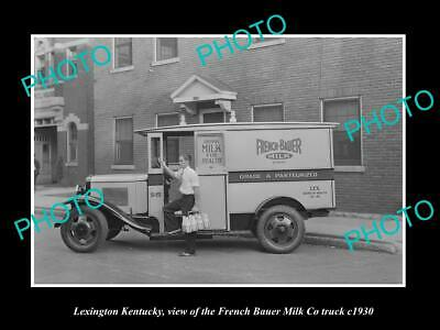 Old Large Historic Photo Lexington Kentucky The French Bauer Milk Truck 1940