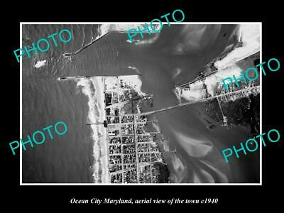 OLD LARGE HISTORIC PHOTO OCEAN CITY MARYLAND AERIAL VIEW OF THE TOWN c1940