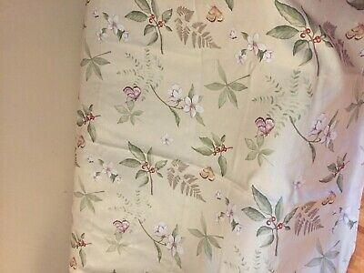 Shower Curtain Cream Color with Flowers and Butterflies