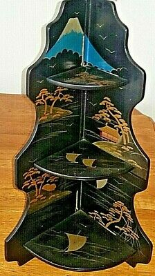 "Vtg. Antique Japan Hand Painted Lacquer 3 Tier Corner Shelf 19"" Folding Signed"