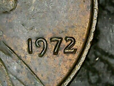 "1972 Lincoln cent, double ""Date""."