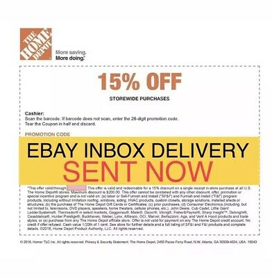 ONE 1x Home Depot 15% Off-1coupon- In Store Only -saving 200$ max 7/8/19